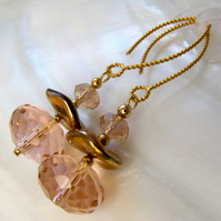 Crystal Earrings, Beautiful Pink Dangle Earrings, Sparkly Drop bead Earrings F14