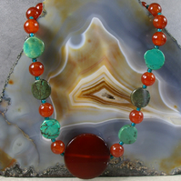 Gemstone Necklace, Semi-Precious Carnelian Necklace, Unique Necklace MS528
