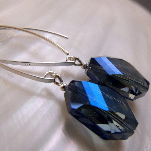 Blue Crystal Earrings, Long Drop Earrings F18