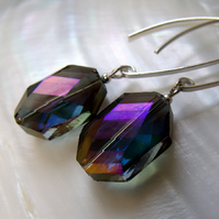 Purple crystal earrings, Sparkly Dangle Earrings F17