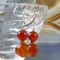Gemstone Earrings, Carnelian Earrings, Semi-Precious Stone Dangle Earrings MS511