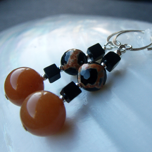 Orange & Black Gemstone Drop Earrings, Gemstone & Sterling Silver Earrings F29