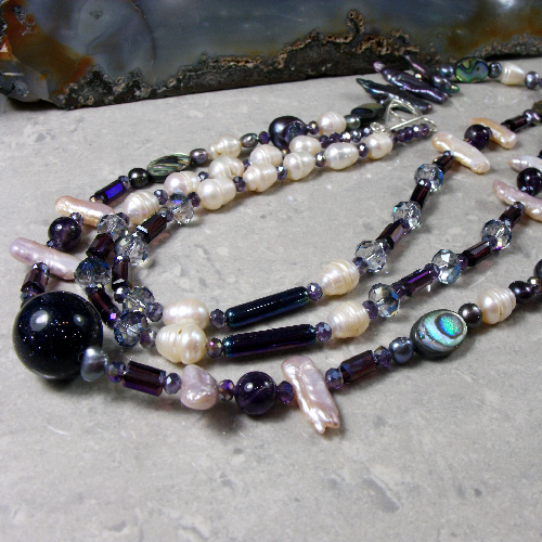 Long Gemstone & Pearl Necklace MS532