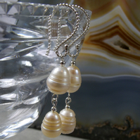 Freshwater Pearl Earrings, Unique Earring Design MS517