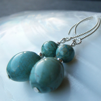 Sterling Silver & Turquoise Gemstone Earrings, Unique Dangle Earring Design F31