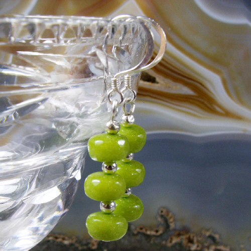 Green Jade Earrings, Semi-Precious Gemstone Earring Design MS514