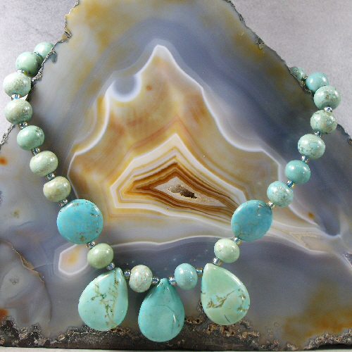 Turquoise Necklace, Semi-Precious Gemstone Necklace, Blue Necklace MS530