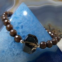 Smoky Quartz Bracelet, Handmade Gemstone Bracelet Design MS83