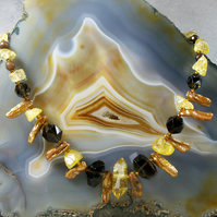 Gemstone necklace, Smoky Quartz necklace with pearls MS538