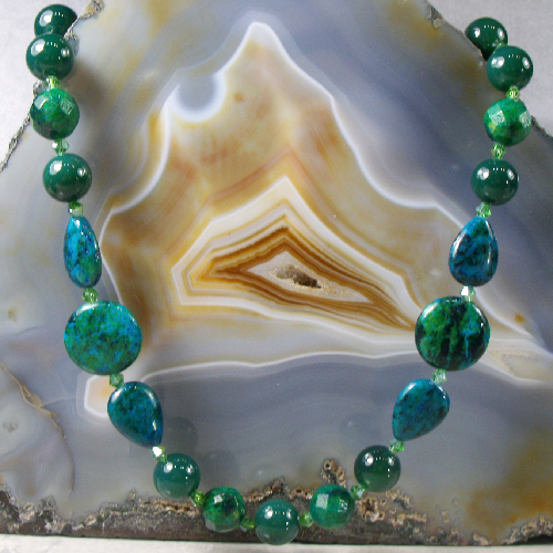 Jasper & Jade Long Gemstone Necklace, Unique Handmade Necklace MS539
