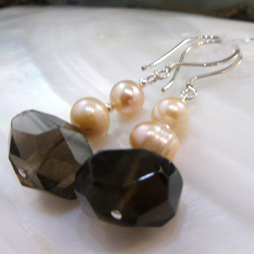 Smoky Quartz Gemstone Earrings, Unique Drop Earrings Design MS521