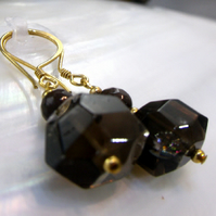Smoky Quartz Gemstone Earrings, Unique Drop Handmade Earrings MS527