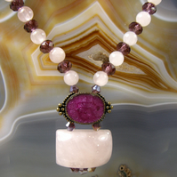 Crystal & Rose Quartz Gemstone Necklace Handmade Jewellery MS536