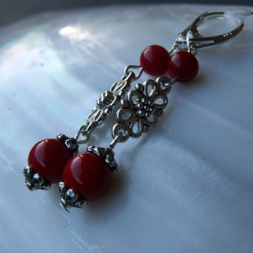 Gemstone Earrings, Red Coral & Silver Drop Earrings F34