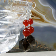 Smoky Quartz Gemstone Earrings, Handmade Dangle Earrings MS520