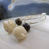 Long Drop Pearl Earrings, Unique Earrings Handmade From Pearls. MS535