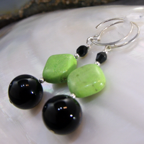 Green Black Drop Earrings, Semi-Precious Gemstone Dangle Earrings MS536