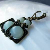 Amazonite Gemstone Earrings, Handmade Amazonite Drop Earrings FE38