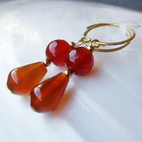 Carnelian Gemstone Earrings, Semi-Precious Drop Earring Design FE41