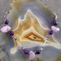 Amethyst Necklace, Unique Amethyst and Sterling Silver Gemstone Necklace MS549