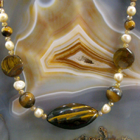 Tigers Eye Gemstone Necklace, Unique Handmade Necklace MS551