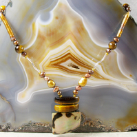 Tigers Eye Gemstone Necklace, Sterling Silver Gemstone Unique Necklace MS483
