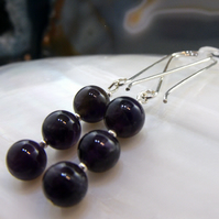 Long Amethyst Gemstone Earrings, Long Drop Earrings MS 540