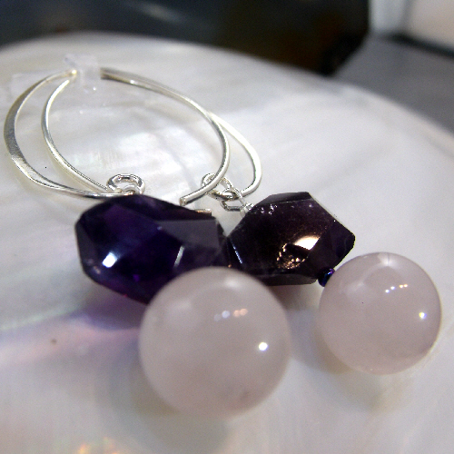 Rose Quartz Amethyst Gemstone Earrings Semi-Precious Drop Earrings MS532