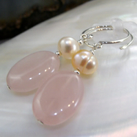 Gemstone Earrings, Unique Rose Quartz Earring Design MS539