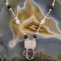 Rose Quartz, Amethyst Gemstone Necklace. Unique Necklace MS551