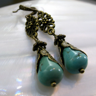 Turquoise Gemstone Earrings, Unique Drop Earrings FE52