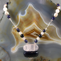 Blue Goldstone, Rose Quartz Gemstone Necklace, Pendant Necklace  MS467