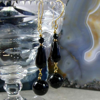 Long Black Drop Earrings, Black & Gold Gemstone earrings MS506