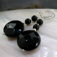 Long Black Earrings, Unique Black Gemstone Earrings MS542