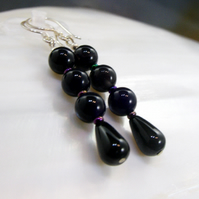 Black Onyx, Amethyst Gemstone Earrings MS543