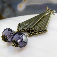 Long Drop Earrings, Long Unique Purple Crystal Earrings FE54