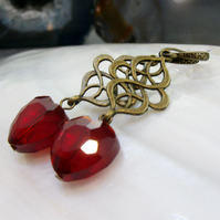 Crystal heart earrings, Red Heart Drop Earrings FE56
