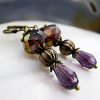 Vintage Style Purple Crystal Earrings, Crystal Vintage Drop Earrings FE47