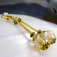 Long Gold Crystal Drop Earrings, Unique Long Earrings FE43