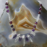 Crystal Quartz, Amethyst Gemstone Necklace, Unique Necklace MS477