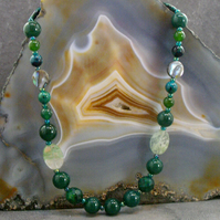 Long Green Gemstone Necklace, Green Agate Unique Necklace MS552