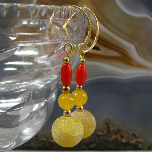 Red, Yellow Gemstone Drop Earrings, Unique gemstone Long Earrings MS459