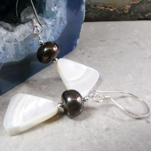 Unique pearl drop earrings, long dangle earrings MS456