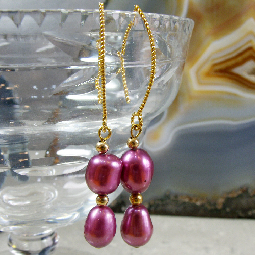 Long Drop Pearl Earrings, Unique Dangle Earrings MS457