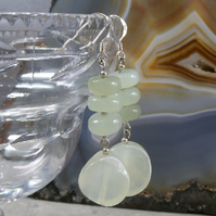 Long Jade Earrings, Gemstone Dangle Earrings MS453