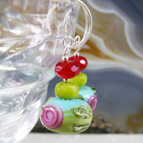 Bead, Gemstone Earrings, Drop Earrings  MS451