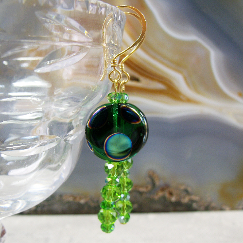 Dangle Earrings, Unique Green Bead Long Earrings  MS444