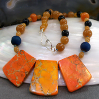 Orange Jasper Gemstone Necklace, Unique Orange Necklace MS555