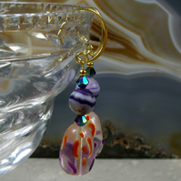 Bead Drop Earrings. Purple & Orange Bead Gemstone Earrings MS501