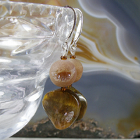 Tigers Eye Drop Earrings, Unique Gemstone Earrings  MS496
